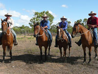 Edward, Dan, Sarah and Joe ready for mustering on White Kangaroo Station